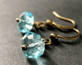 Aqua Crystal Earrings. Dangle Earrings in Aqua Blue. Handmade Jewelry.