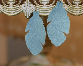 Baby blue feather leather earrings- FREE SHIPPING