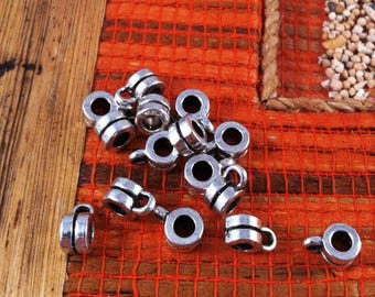 10 round bails with fine Groove black, silver, antique, 9 mm
