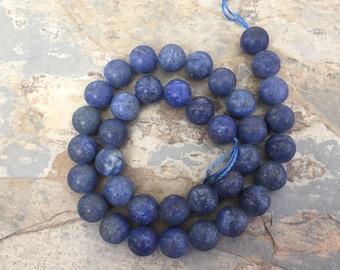 Lapis Beads, Large Matte Lapis Beads, Lapis Lazuli Beads, Large Round Lapis Beads, 10mm, 15 inch strand