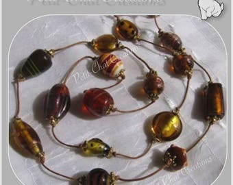 """NECKLACE BROWN HONEY / AMBER THREAD COLLECTION """"TAMER OF BEASTS"""" LAMPWORK GLASS BEADS"""