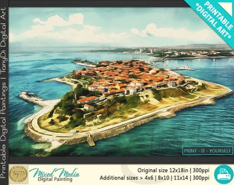 Island of Old Nessebar, Black Sea, Bulgaria • Beautiful Travel Digital Painting • Travel Printable Wall Art, Home Decor, Architectural Art