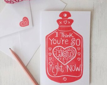 You're So Hot Card - Pun card - Funny Love Card - Card for boyfriend -  Red Printed Card