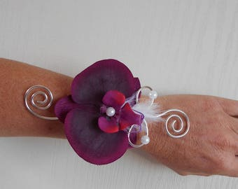 Bracelet flowers for bride or witness - plum, white and silver