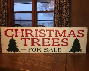 "CHRISTMAS Sign / Christmas Trees For Sale / Wood Sign / Home Decor / Christmas Fixer Upper Farmhouse Decor / DAWNSPAINTING / 36"" x 12"""