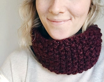 Claret Seed Stitch Cowl + Neck Warmer