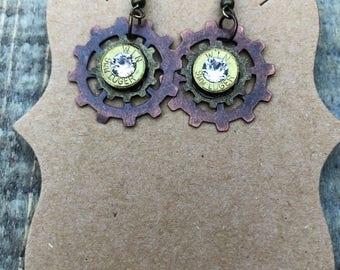 Gear Bullet Brass Earrings