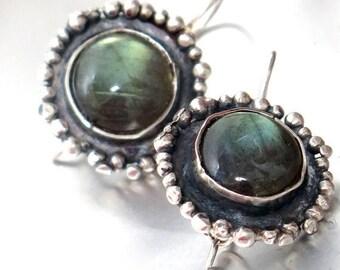 Labradorite Dangle Earrings, Large Labradorite Drop Earrings, Labradorite Jewelry