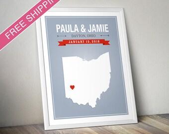 Personalized Ohio Wedding Gift - Custom Ohio State Map Art Print, Wedding Guest Book, Engagement Gift, Mid Century Modern