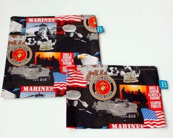 Reuseable Eco-Friendly Set of Snack and Sandwich Bags in Marines Fabric
