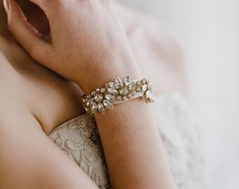Gold Wedding Bracelet | Crystal Bracelet | Crystal Bridal Bracelet | Rhinestone Cuff Bracelet | Gold Azalea Bracelet Cuff