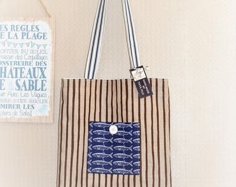 Tote bag beige Brown striped, reversible Made in France