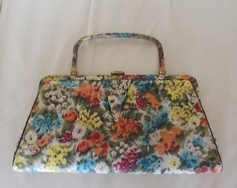 "Vintage~Flowered Satin~Handbag~Dress or Casual~12"" wide~Pocketbook~Bag~Womens Accessorie~Nice~1960's~Smaller Bag"