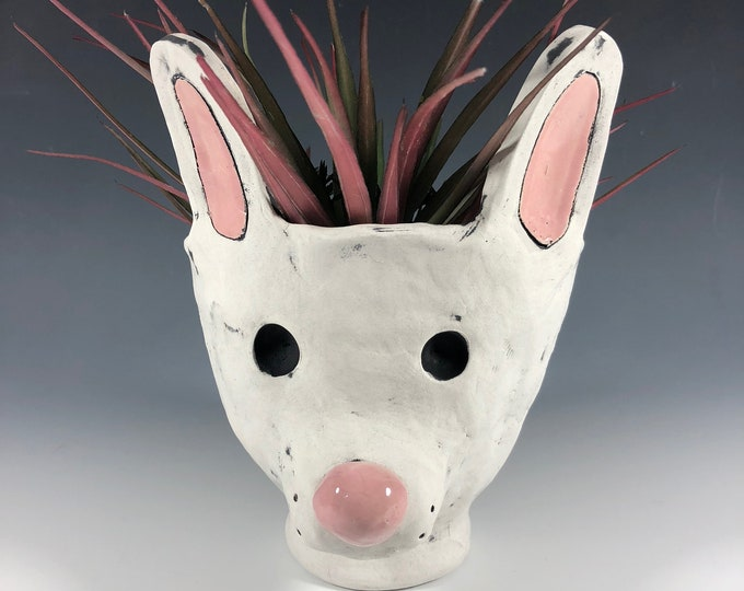White Rabbit Pothead // Succulent Pot // Planter // Ceramic // Handmade // Small // Pothead // Big Ears // Medium // White