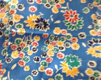 Vintage COTTON FEEDSACK FLORAL Fabric Yard Remnant