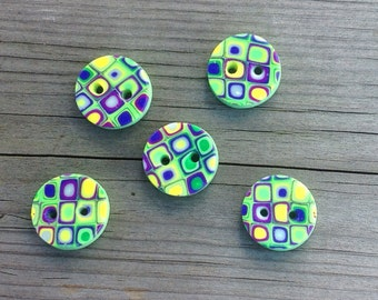 Crocus -five hand-made polymer clay-buttons
