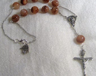 Brown Marble Single Decate Car Rosary,Auto Rosary,Rosary,Pocket Rosary,Catholic Rosary,Catholic,Prayer Beads,Travel Rosary,Cross