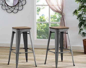 PROMENADE bar stool  Industrial Design Rustic decore Metal and wood high seat stool