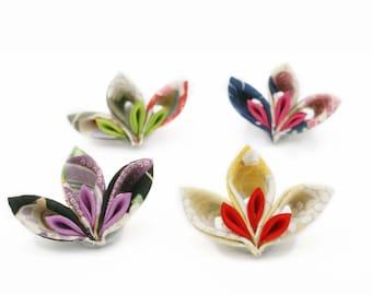 Fabric Origami Brooch in Kimono Print Cotton - Kanzashi Brooch - Japanese Brooch - Jewelry for Women