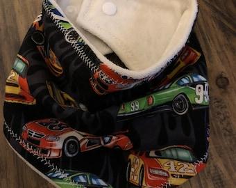 Racecar bob, Bandana bib, baby gift, handmade organic bandana bib