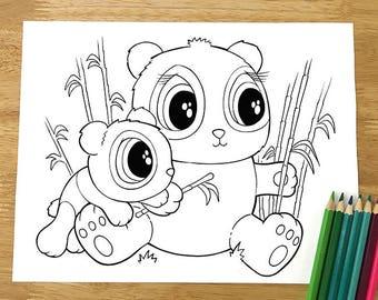 Cute Pandas Coloring Page! Downloadable PDF file!