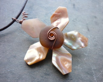 Sea Glass Necklace - Seashell Beach Seaglass Starfish Flower