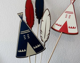 Tribal Centerpiece Set -   Tee-Pee and Feather Centerpiece Set- Tribal Baby Shower- Tribal Birthday Party