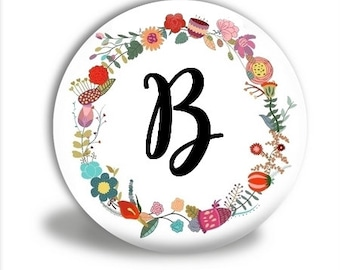 Monogram Pocket mirror, Wreath monogram, mirror favor, bridesmaid gift