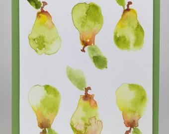 Card 118 - Watercolor Pears A2 card with envelope - blank inside