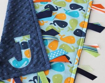 Taggie blanket, taggie, custom, Baby, boy, gift, Minky, ribbon, Sensory, Lovey, Personalized, navy, whales