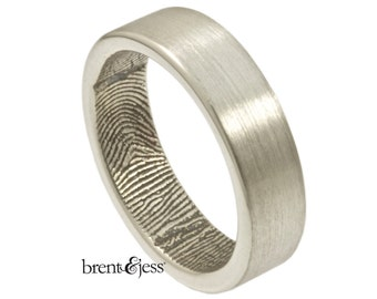 The Original Fingerprint Ring with Wrapped Print on the Inside in Sterling Silver, Wedding Band