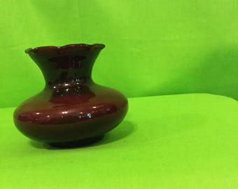 Ruby Red glass Fluted vase