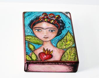 Frida - I Love You More Than Myself - Te Quiero Más Que a Mi Misma -  Giclee print mounted on Wood (6 x 8 inches) Folk Art  by FLOR LARIOS