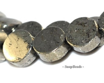 6MM Palazzo Pyrite Gemstone, Flat Round, Circle Button Coin 6MM Loose Beads 16 inch Full Strand (90107071-417))