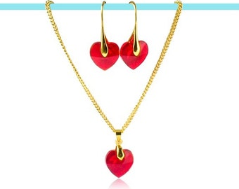 Red Austrian crystal earrings and gold necklace set, Red & gold jewellery, Heart pendant necklace, Statement jewellery set, Gift for her UK