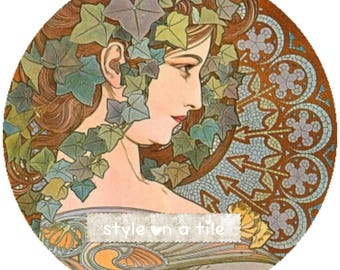 "Lovely Art Nouveau Ivy Lady design  23cm or 9"" round hardboard placemat table mat server place setting centrepiece"