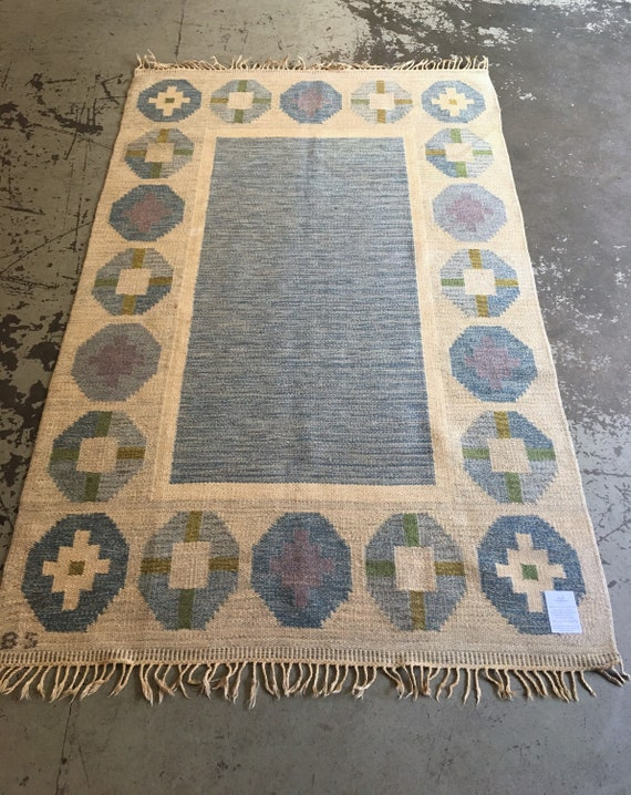 Vintage Swedish flatweave rolakan woollen rug by Birgitta Soderkvist circa 1950's