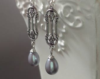 Lady Sybil - Vintage Style Jewelry - Pearl Earrings - Bridesmaid Earrings - Wedding Jewelry - Downton Abbey Style Jewelry - Gift for Her