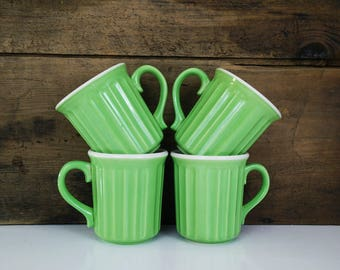 Vintage Lime Green Mugs / Spring Tableware / USA / Coffee Cups