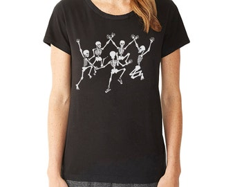 Dancing Skeletons T-Shirt, Women's Graphic tee, Skeletons, Day of the Dead, Halloween t-shirt, Cool Art t-shirt