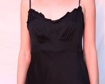 Minimalist Silk Camisole w/ Ruffled Top Hem & Low Broad-Scoop Back- Sz 6