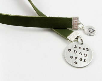 Dad Bookmark - Best Dad Ever - Stamped Leather Bookmark for Father's Day Gift