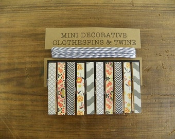 Mini Clothespins with Grey Twine. Shades of Grey. Black Chevron. Orange Flowers. Card holder. Photo clothesline. Kids art display.