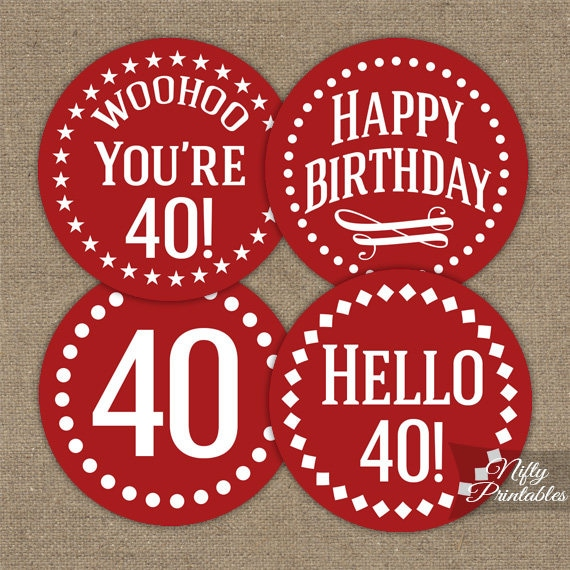 Red 40th Birthday Cupcake Toppers Red White 40th Birthday