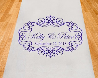 Ornate Border Personalized Aisle Runner - Wedding Ceremony Aisle Runner