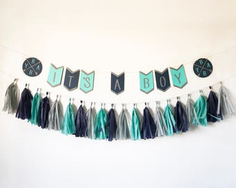 Boho Banner | Boho Baby Shower Banner | Bohemian Banner | Bohemian Baby Shower | Tribal Baby Shower Banner | Navy and Teal Baby Shower