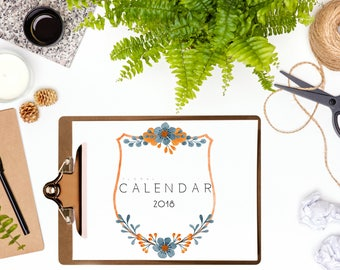 Floral Calendar 2018,Printable Calendar,Wall Calendar,Desk Calendar,Gift for Her
