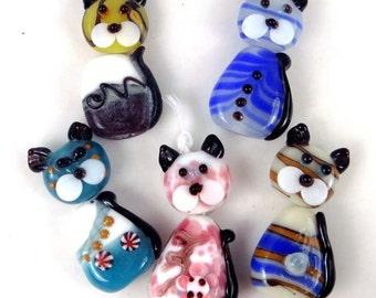 5 Lampwork Handmade Glass Beads Lovely Cats Beads (L1016)