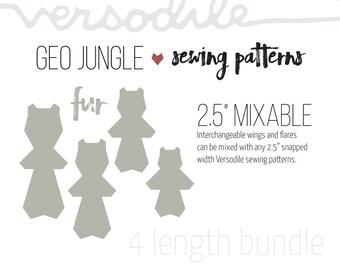 "GEO Fur   Cloth Pad Pattern   4 lengths bundle   2.5"" Snapped Width"