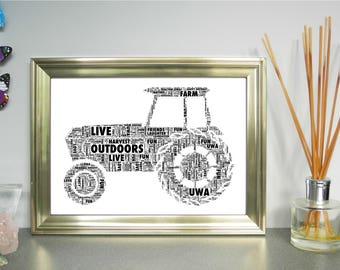 Tractor Personalised Child/Adult Word Art Print, FREE UK P&P. Nursery wall art, Word Cloud Picture, Word Collage, Digital art
